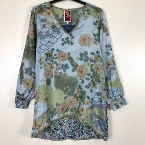 Johnny Was Silk Floral Print V Neck Blouse Small